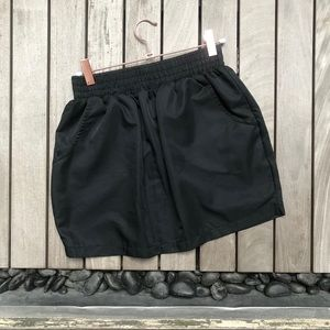 AMERICAN APPAREL Black Pocketed Sheeny Mini Skirt